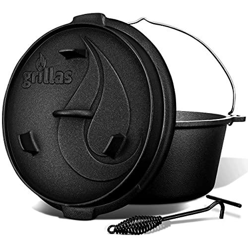 grillas Dutch Oven Set inkl. Rezeptideen   bereits eingebrannt - preseasoned   Feuertopf Gusseisen I Bräter mit Deckelheber und Henkel (Topf ohne Füße, 4,2 Liter / 4,5 QT)