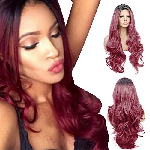 Perücke Zweifarbige Haar, lang, gelockt, hitzebeständiges Kunsthaar, geeignet als Cosplay Perücke und Party-Perücke, für Damen (Rotwein)