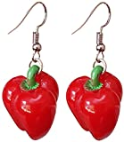 Vegetable and Fruits Resin Dangle Charm Dangle Earrings by Pashal (Red Bell Pepper)