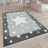 Paco Home Alfombra Infantil Habitación Infantil 3D Adorable Ribetes Diseño Estrellas Gris Blanco, tamaño:140x200 cm