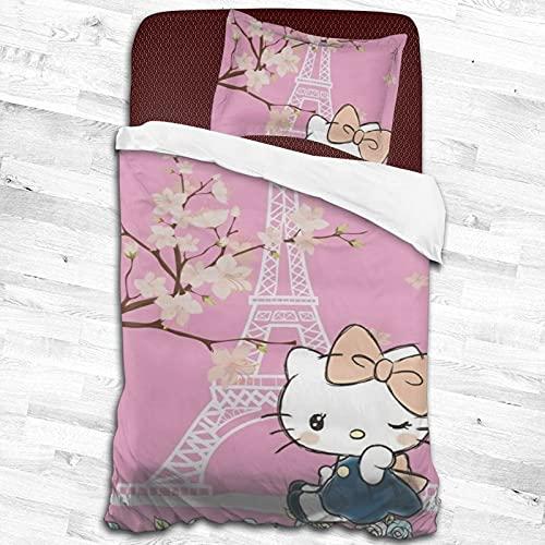 Hello Kitty juegos de cama de dibujos animados para niños y niñas adolescentes funda de edredón 2 piezas juegos de cama 1 funda de edredón 1 funda de almohada negro