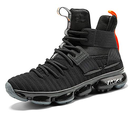 JMFCHI Kid's Basketball Shoes High-top Sports Shoes Sneakers Durable Lace-up Non-Slip Running Shoes Secure for Little Kids Big Kids and Boys Girls Black