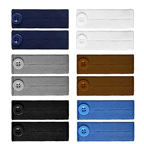 12 PCS Elastic Waist Extenders, Jeans Pants Button Extender Adjustable Waist Extender Pants Waist Elastic Extenders Waistband Extender for Jeans, Skirt, Trousers (6 Colors)