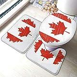The-Flag-of-Canada - Juego de alfombrillas antideslizantes para baño (fibra de poliéster, 3 piezas)