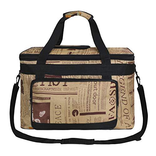 Waterproof Art/Craft Supplies Storage Tote Bag Artist Travel Portfolio Carrying Bag Case Painting Box Large Capacity Messenger Bag for Painting Brushes Pencils Palette Paints Sketchbook (Newspaper)