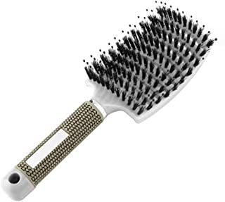 LayTmore Anti Static Soft Boar Bristles,Hight End Hair Brush for Wet and Dry Hair, Comb for Women, Men and Kids (White)
