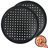 2Pcs Pizza Pan with Holes,12 Inch Round Non-Stick Pizza Crisper Pan for Oven,Perforated Bakeware for...