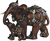 George S. Chen Imports SS-G-88102, Thai Elephant with Baby Wood-Like Design Figurine