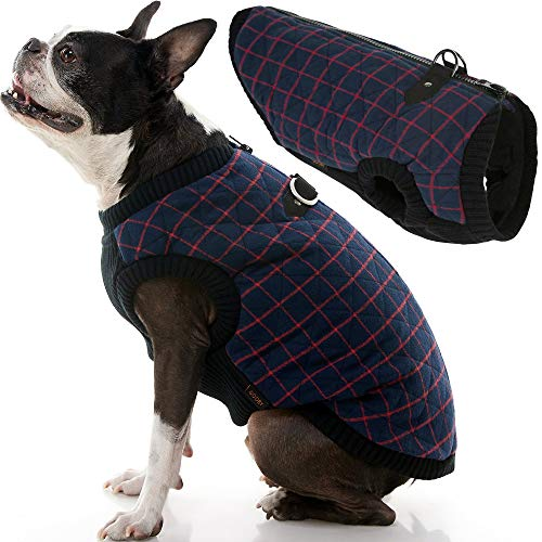 Gooby Fashion Vest Check Dog Jacket - Navy Check, Small - Warm Zip Up Dog Bomber Vest with Dual D Ring Leash - Winter Water Resistant Small Dog Sweater - Dog Clothes for Small Dogs Boy or Medium Dogs