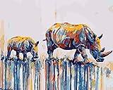 Pintura por números para adultos Rhino animal DIY Pintura al óleo Pintura por kits de números