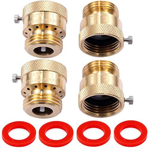 """Litorange 4 Pack Brass 3/4"""" Inch GHT Hose Bibb Connector Backflow Preventer Vacuum Breaker"""
