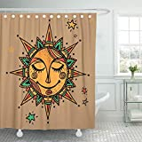 Decoración de Shower Curtain Aztec Summer Sun Tribal Ornamental Mandala Ethno Vintage México...