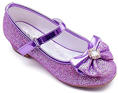 Furdeour Purple Girls Dress Shoes Size 7 2 Yr Prom Sequins Wedding Little Girls Toddler Princess Dress Shoes Party 2T Toddler Glitter Shoes Medium High Heels for Girls 2 Year Old Cute (Purple 7)