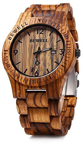 Bewell ZS-W086B in legno orologi al quarzo, con data, per uomo marrone