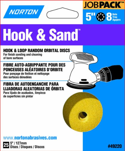 Norton 49221 5-Inch 8 Hole P120 Hook and Loop Discs, 25-Pack