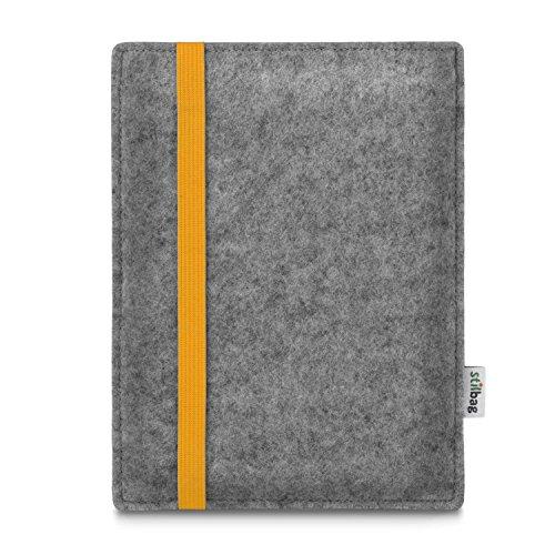 stilbag e-Reader Tasche Leon für Amazon Kindle Oasis (9. Generation) | Wollfilz hellgrau - Gummiband gelb | Schutzhülle Made in Germany