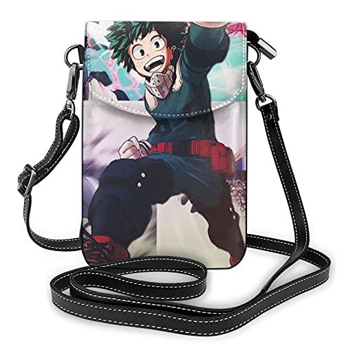 My-He-r-o Ac-ade-mia Anime Kleine Umhängetaschen Langlebige Handy-Geldbörse Brieftasche 3D-Druck Handytasche Umhängetasche Leder Geldbörse Brieftasche