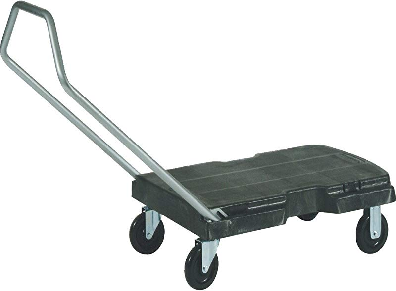 Rubbermaid Commercial Products Triple Trolley Folding Handle Dolly Cart Platform Truck With Wheels 500 Lbs Capacity For Moving Warehouse Office FG440100BLA