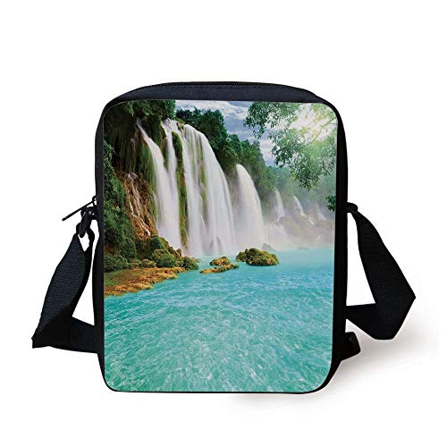 FAFANIQ Waterfall,Ban Gioc Detian Cascade in the Forest Tropical Waterscape Clear Pool,Turquoise Green White Print Kids Crossbody Messenger Bag Purse