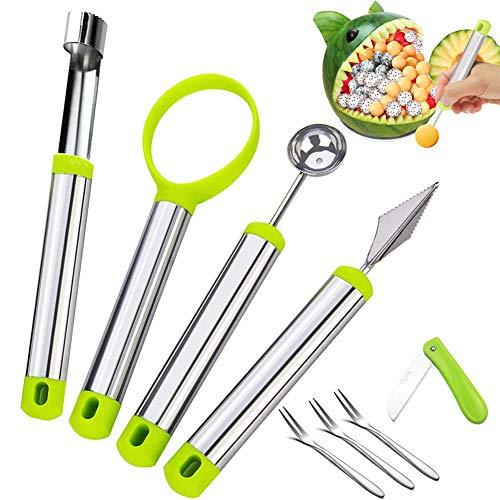 BITEFU 4 Stück Obst Werkzeug Küchenhelfer Set Multifunktion lebensmittelechter Edelstahl Apfelentkerner,Melonenausstecher Kugeln,Schnitzmesser, mit Obstmesser und Obstgabeln für DIY-Obstsalate