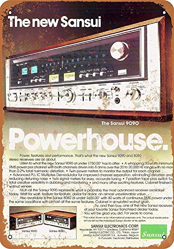 Sansui 9090 Receivers Blechschild Retro Blech Metall Schilder Poster Deko Vintage Kunst Türschilder Schild Warnung Hof Garten Cafe Toilette Club Geschenk