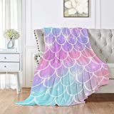 Pearl Mermaid Fish Scale Flannel Blanket Plush Throw Fuzzy Lightweight King Size Super Soft for Couch, Bed, Sofa Ultra Luxurious Warm Cozy for All Seasons 50'x40' for Baby
