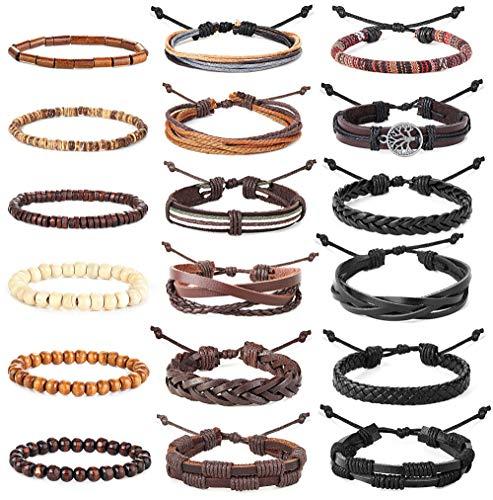 Finrezio 18Stk Geflochtene Lederarmbänder Für Männer Frauen Gewebte Manschette Wickelarmband Holzperlen Ethnische Tribal Armbänder Einstellbar