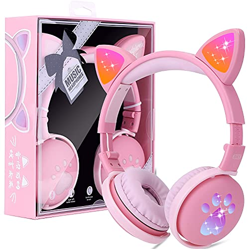 Auriculares Bluetooth para Niños con Orejas de gato, Cascos Bluetooth Inalámbricos, Luz...
