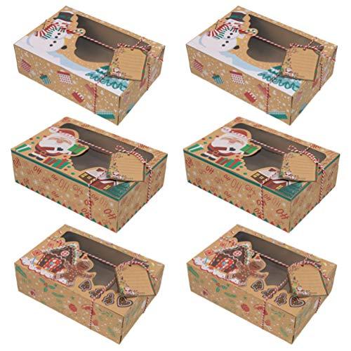 VALICLUD 6Pcs Weihnachtsplätzchengeschenk-Backschachtel mit Fenster für Gebäck Cupcakes Plätzchen Brownies Donuts Weihnachten Holdiay Party Begünstigt Lieferungen