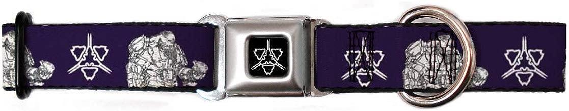 Buckle-Down Seatbelt Buckle Dog Collar - Halo Wars 2 Atriox Pose/Banished Logo Purple/Black White