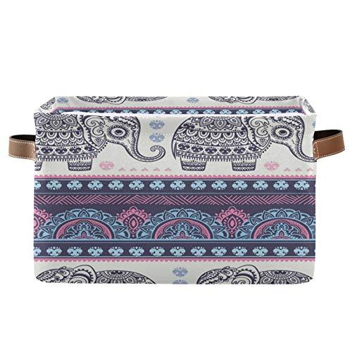 QMIN - Cesta de almacenamiento para guardar cestas de almacenamiento, diseño de elefante indio tribal, tamaño grande, plegable, para guardar ropa, guardería, hogar, dormitorio, 1 juego