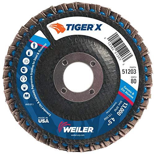 Weiler 51203 Tiger X Flap Disc, Ceramic and Zirconia Alumina, Angled, Phenolic Backing, 80 Grit, 4-1/2