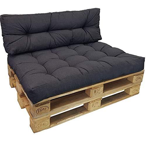 DILUMA Cojin para palés Confort - Cojin de Asiento o Respaldo para sofás palets - Repelente a Las Manchas (NO ES UN Set!), Color:Antracita, Variante:1x Asiento 120x80 cm