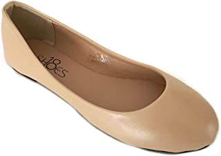 Shoes 18 Womens Classic Round Toe Ballerina Ballet Flat Shoes 8600 Nude Pu 8.5