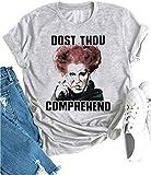 Dost Thou Comprehend Sanderson Sisters Hocus Pocus Shirt Womens Funny Halloween Tshirt Fall Tee Tops (XL, Grey1)