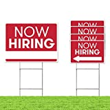 Now Hiring Business Event Sign - Employer Store Job Fair Sign - 5 Sign Bulk Pack - (1) 18'x24' Large Now Hiring & (4) 12'x18' Directional Arrows - Thick Durable Double Sided w/ (5) H Wire Stakes