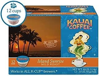 Kauai Coffee Single-serve Pods, Island Sunrise Mild Roast – 100% Premium Arabica Coffee from Hawaii's Largest Coffee Grower, Keurig-Compatible Cups - 12 Count