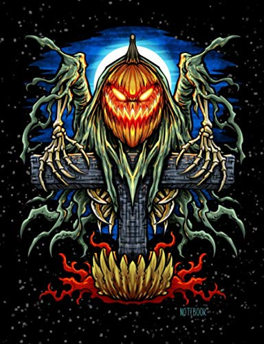 Notebook: School Composition Notebook 100 Pages Wide Ruled Lined Paper - Halloween Jack O Lantern Scarecrow Creepy Cover