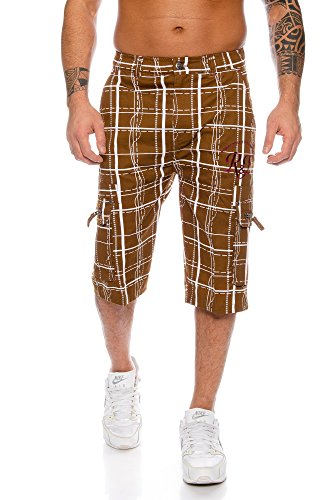 Raff&Taff Bermudas para hombre, pantalones cortos de deporte, para ocio, hasta 4XL, Marrón (Rt 001), M