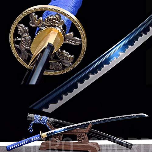 Handmade Razor Sharp Japanese Samurai Sword Real Combat Ready Katana,Damascus Folded Steel,T1095 High Carbon Steel Full Tang Blade (Blue Blade Flowers Tsuba Katana)
