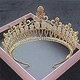 Celada de Novia Princesa Reina Tiara de la Corona, Corona de la Vendimia del Rhinestone de la Venda para la Ceremonia de Boda de la Novia del Partido Grandbanquet,Amarillo