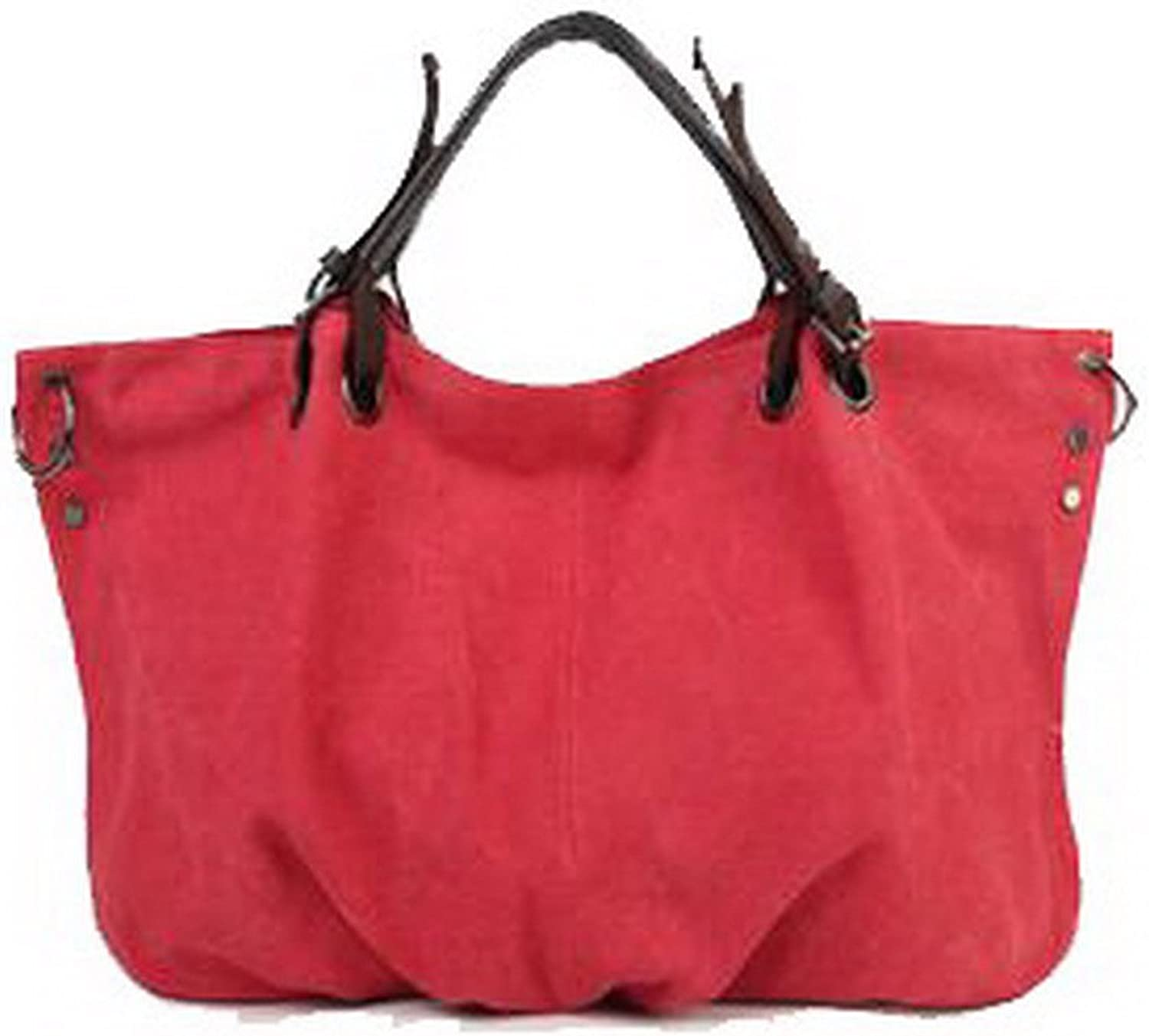 AmoonyFashion Women's Casual ToteStyle Canvas Satchel Picnic Shoulder Bags, BUTBS181476