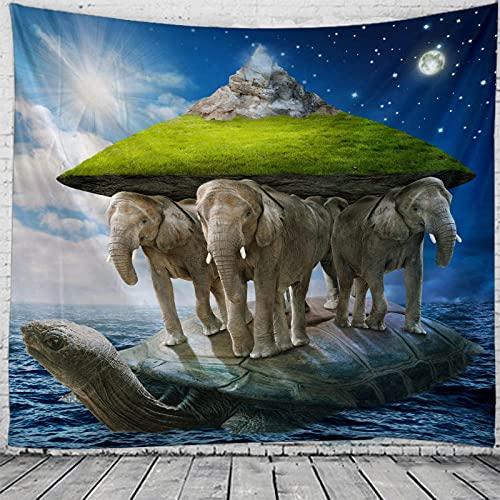 Obrand Tapiz Tapiz de Pared Tapices de Pared,Mandala Indian Boho Psychedelic Elephant Hippie Toalla de Playa Estera de Yoga Manta Tapices para Dormitorio Sala de Estar Dorm