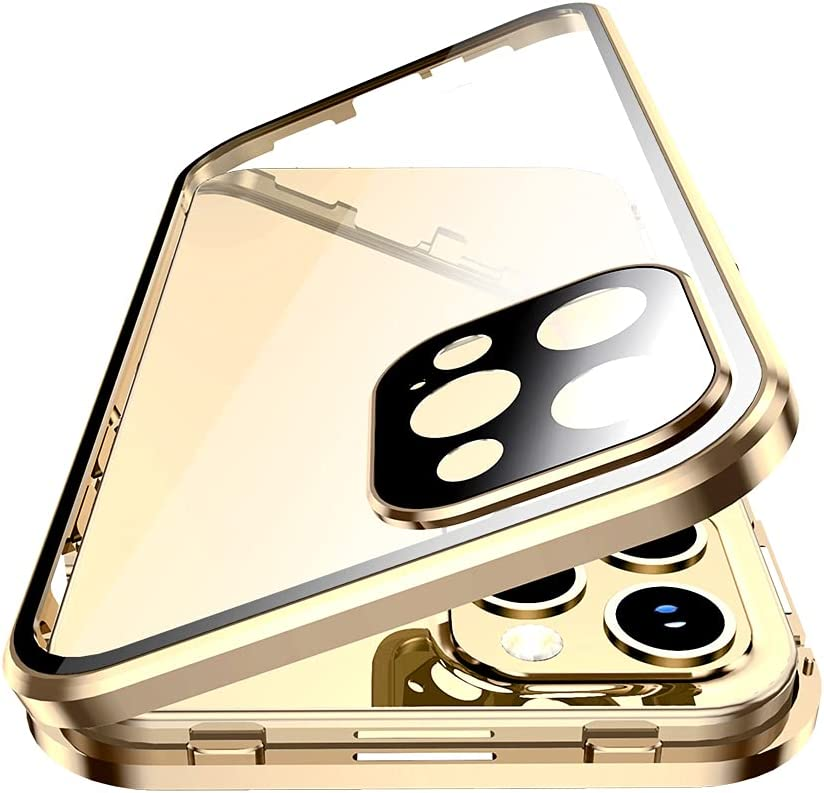 with Safety Lock & Strong Magnetic adsorption for iPhone 11 case with Camera Lens Protector Metal Bumper 360 Full Body Protection Double-Sided Tempered Glass(iPhone11, Gold)