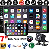 iOS Android Car Navigation Stereo Double Din Media Car Stereo 7 Inch Touch Screen Car MP5 Player Backup Rear View Camera WiFi/BT FM Radio Car Audio w/Steering Wheel Remote Control Mirror Link 32G TF