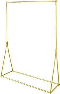 FURVOKIA Modern Simple Heavy Duty Metal Rolling Garment Rack with Wheel,Retail Display Clothing Rack,Wrought Iron Single Rod Floor-Standing Hangers Clothes Shelves (Gold Round Tube, 47.2 L)