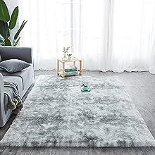 Alfombra de pelo largo para salón, suave área de rea, dormitorio, Shaggy, dormitorio, alfombra de cama, exterior, color gris, 150 x 240 cm