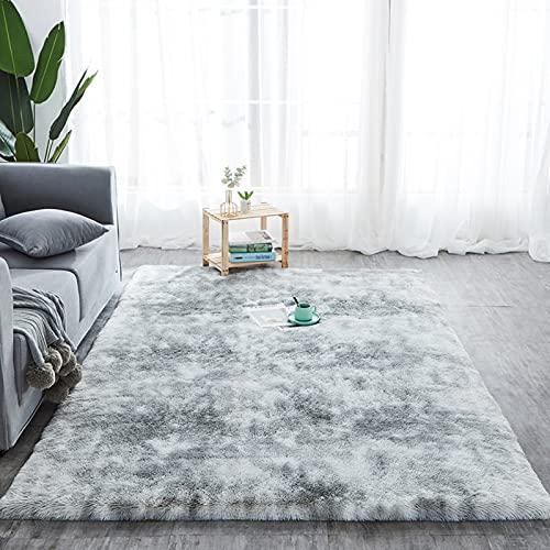 Alfombra de pelo largo para salón, suave área de rea, dormitorio, Shaggy, dormitorio, alfombra de cama, exterior, color gris, 200 x 300 cm