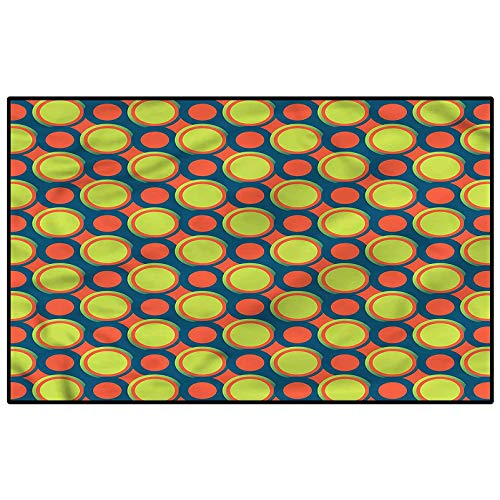 Retro Super Soft Indoor Modern Shag Area Silky Smooth Rugs Orange and Green Circles Desk mat for Carpet Child 4.5 x 5.2 Ft