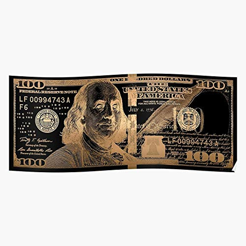 Generic Averbukh In Wealth by 100 Gold Finances Colorized Serge One Bill Collection Pop Series Visual New Dollar Black Financial Money 2009 Usd Art Hundred Us On Home Decor Wandkunst drucken Poster